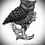 Классный вариант татуировки эскиз филин – можно использовать для тату филина на ноге
