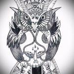 Достойный вариант татуировки эскиз филин – можно использовать для тату филин олд скул