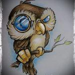 Интересный вариант тату эскиз филин – можно использовать для тату филин сова