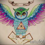 Интересный вариант татуировки эскиз филин – можно использовать для тату филин тюремное значение