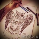 Оригинальный вариант татуировки эскиз филин – можно использовать для тату филин реализм