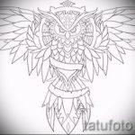 Стильный вариант татуировки эскиз филин – можно использовать для тату филин ребенок