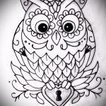 Стильный вариант тату эскиз филин – можно использовать для тату филин сова