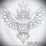 Прикольный вариант татуировки эскиз филин – можно использовать для тату филин на шее