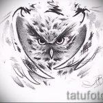 Классный вариант татуировки эскиз филин – можно использовать для тату филин на ноге