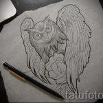 Классный вариант татуировки эскиз филин – можно использовать для тату филин или сова