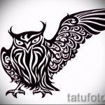 Интересный вариант тату эскиз филин – можно использовать для тату филин олд скул
