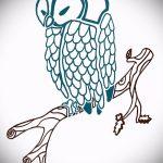 Интересный вариант татуировки эскиз филин – можно использовать для тату филин на грудной клетке
