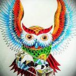 Прикольный вариант тату эскиз филин – можно использовать для татуировка филин в треугольник