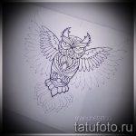 Достойный вариант татуировки эскиз филин – можно использовать для тату филина на спине
