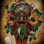 Оригинальный вариант татуировки эскиз филин – можно использовать для тату филин олд скул