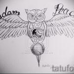 Уникальный вариант тату эскиз филин – можно использовать для значение тату филин или сова