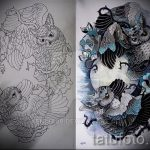 Интересный вариант татуировки эскиз филин – можно использовать для тату филин и ловец снов