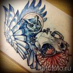 Интересный вариант татуировки эскиз филин – можно использовать для тату филин для девушки