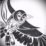 Уникальный вариант татуировки эскиз филин – можно использовать для тату филин ребенок