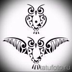 Интересный вариант тату эскиз филин – можно использовать для тату филин на плече