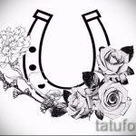 Прикольный вариант татуировки эскиз подковы – можно использовать для тату подкова за ухом