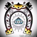 Прикольный вариант татуировки эскиз подковы – можно использовать для тату подкова для девушки
