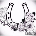 Классный вариант тату эскиз подковы – можно использовать для тату подкова и перо