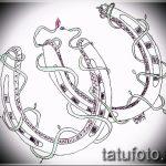 Интересный вариант татуировки эскиз подковы – можно использовать для тату подкова за ухом
