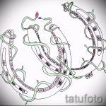 Стильный вариант тату эскиз подковы – можно использовать для тату подкова в реализме фото