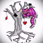 Уникальный вариант тату эскиз чеширский кот – можно использовать для тату чеширский кот на ребрах