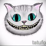 Классный вариант тату эскиз чеширский кот – можно использовать для тату чеширский кот ноге