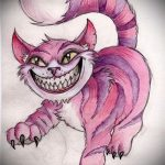 Классный вариант татуировки эскиз чеширский кот – можно использовать для татуировка чеширский кот фото