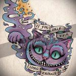 Уникальный вариант тату эскиз чеширский кот – можно использовать для тату чеширский кот держит часы