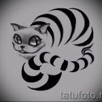 Стильный вариант татуировки эскиз чеширский кот – можно использовать для тату чеширский кот в шляпе