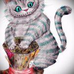 Классный вариант тату эскиз чеширский кот – можно использовать для тату чеширский кот и кролик