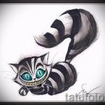 Прикольный вариант татуировки эскиз чеширский кот – можно использовать для тату чеширский кот ноге