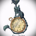 Интересный вариант татуировки эскиз чеширский кот – можно использовать для тату чеширский кот на спине