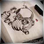 Оригинальный вариант татуировки эскиз чеширский кот – можно использовать для тату чеширский кот мужские