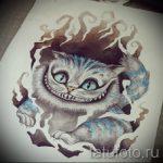 Уникальный вариант татуировки эскиз чеширский кот – можно использовать для тату чеширский кот на ребрах