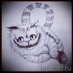Классный вариант тату эскиз чеширский кот – можно использовать для чеширский кот картинки тату