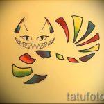 Достойный вариант татуировки эскиз чеширский кот – можно использовать для тату чеширский кот как дым
