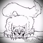 Прикольный вариант тату эскиз чеширский кот – можно использовать для тату улыбка чеширского кота