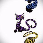 Интересный вариант тату эскиз чеширский кот – можно использовать для тату чеширский кот из игры