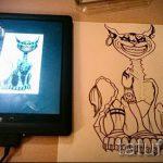 Стильный вариант татуировки эскиз чеширский кот – можно использовать для тату чеширский кот злой