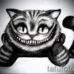 Прикольный вариант тату эскиз чеширский кот – можно использовать для тату чеширский кот на ключице