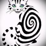 Достойный вариант татуировки эскиз чеширский кот – можно использовать для тату чеширский кот на предплечье