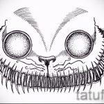 Интересный вариант татуировки эскиз чеширский кот – можно использовать для тату чеширский кот девушек