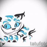 Классный вариант тату эскиз чеширский кот – можно использовать для тату чеширского кота в лесу