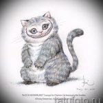 Стильный вариант тату эскиз чеширский кот – можно использовать для тату чеширский кот на ключице