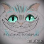 Прикольный вариант татуировки эскиз чеширский кот – можно использовать для тату чеширский кот на ноге