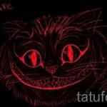 Стильный вариант тату эскиз чеширский кот – можно использовать для тату чеширский кот на запястье