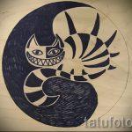 Оригинальный вариант татуировки эскиз чеширский кот – можно использовать для тату чеширский кот на плече