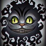 Классный вариант татуировки эскиз чеширский кот – можно использовать для тату чеширского кота в лесу