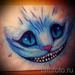 Интересный вариант татуировки эскиз чеширский кот – можно использовать для тату чеширский кот злой